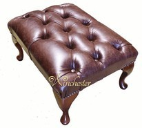 Chesterfield Queen Anne Footstool UK Maufactured Old English Brown