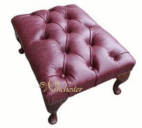 Chesterfield Queen Anne Footstool UK Maufactured Old English Burgandy
