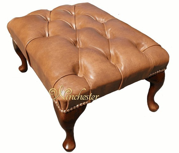 Chesterfield Queen Anne Footstool UK Maufactured Old English Tan Leather