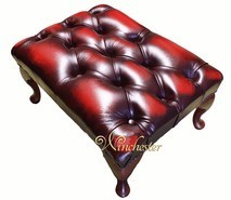 Chesterfield Queen Anne Footstool UK Maufactured Antique Oxblood