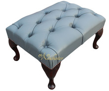 Chesterfield Queen Anne Footstool UK Maufactured Vele Iron Grey Leather