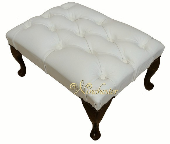 Chesterfield Queen Anne Footstool UK Maufactured White