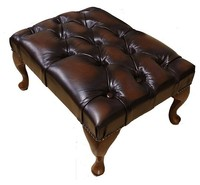 Chesterfield Stamford Footstool UK Manufactured Leather Suites Antique Brown