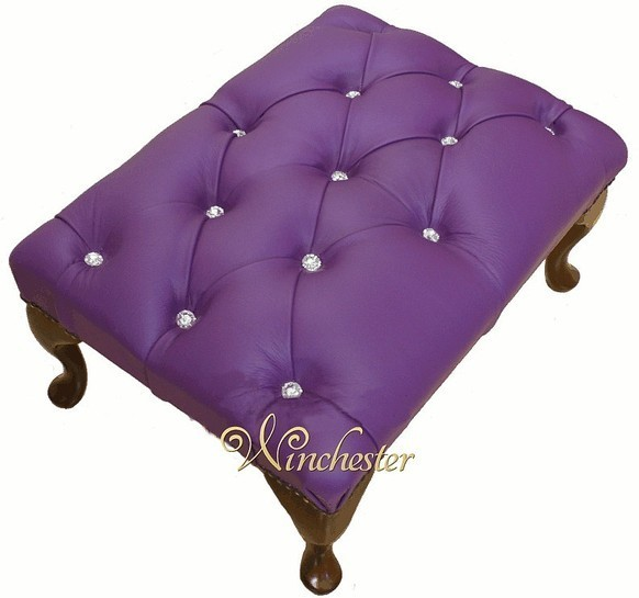 Chesterfield Swarovski Queen Anne Footstool UK Maufactured Purple Wineberry