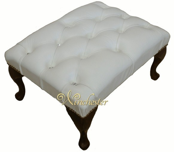 Chesterfield Swarovski Queen Anne Footstool UK Maufactured White