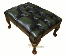 Chesterfield Queen Anne Footstool UK Maufactured Antique Green