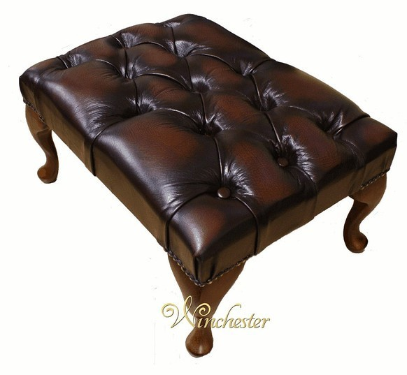 Chesterfield Queen Anne Footstool UK Maufactured Antique Brown