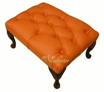 Chesterfield Queen Anne Footstool UK Maufactured Orange