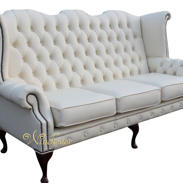 High Back White Leather Sofa: Chesterfield 3 Seater Queen Anne High Back Wing Chair UK