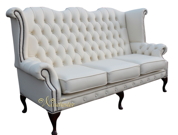 Chesterfield Chatsworth 3 Seater Queen Anne High Back Wing Chair UK Manufactured White