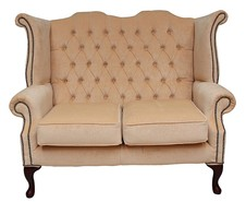 Chesterfield 2 Seater Queen Anne High Back Wing Sofa Chair Velluto Vanilla Fabric