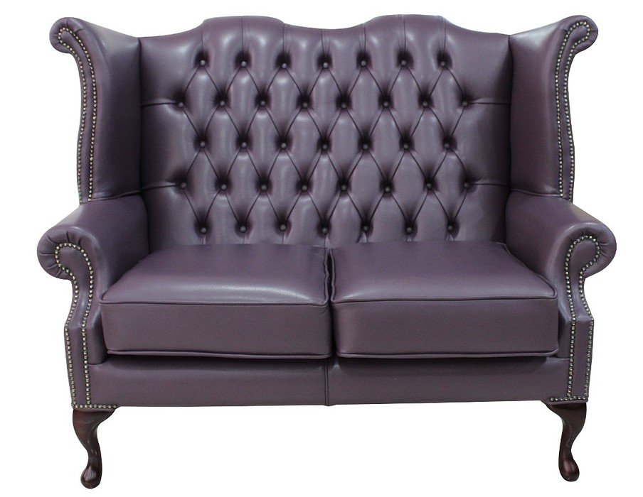 purple chesterfield 2 seater high back wing sofa. Black Bedroom Furniture Sets. Home Design Ideas