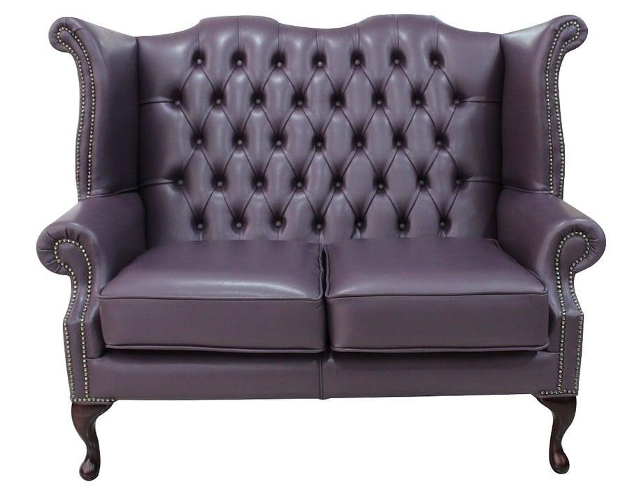 Purple Chesterfield 2 Seater High Back Wing Sofa Designersofas4u