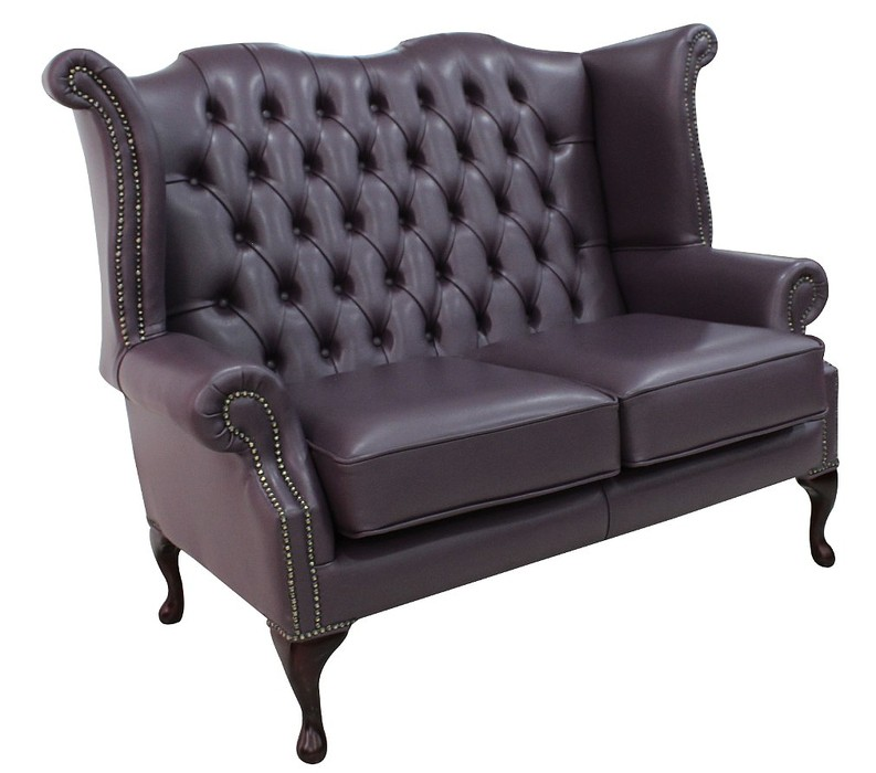purple chesterfield 2 seater high back wing sofa designersofas4u. Black Bedroom Furniture Sets. Home Design Ideas