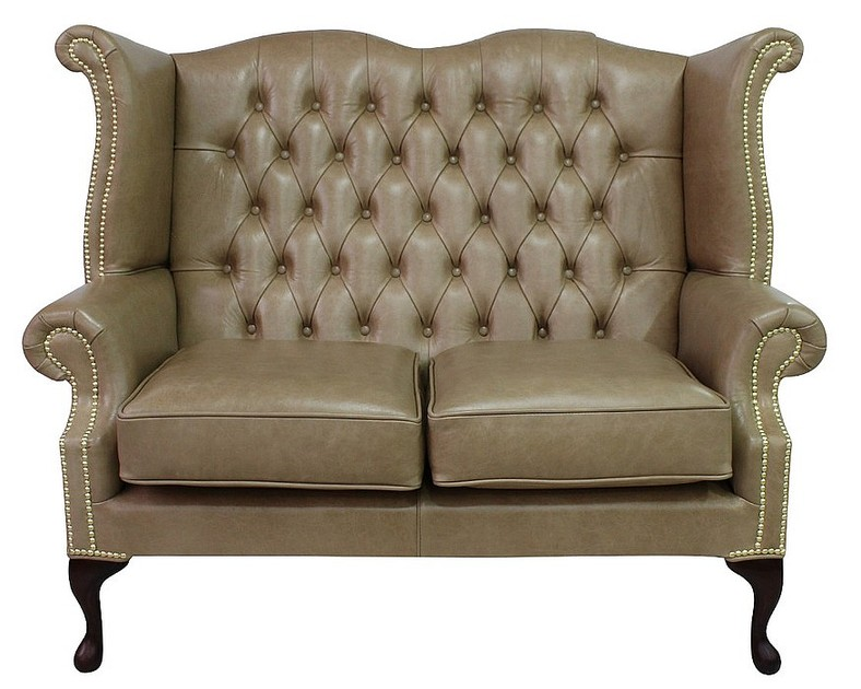 Parchment Chesterfield 2 Seater High Back Wing Sofa Designersofas4u
