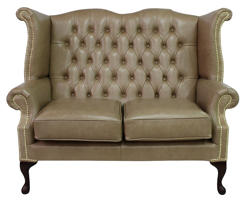 Parchment Chesterfield 2 Seater High Back Wing Sofa
