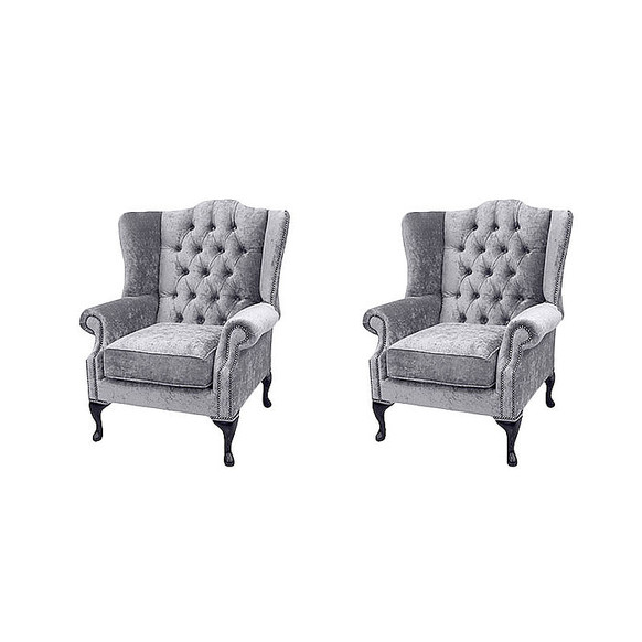 Chesterfield 2 x Mallory Wing Chairs Harmony Dusk Velvet Sofa Suite Offer