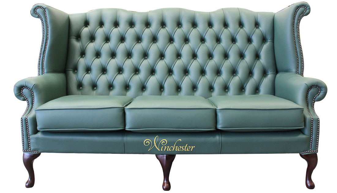 chesterfield 3 seater queen anne high back wing sofa jade green leather uk manufactured leather. Black Bedroom Furniture Sets. Home Design Ideas