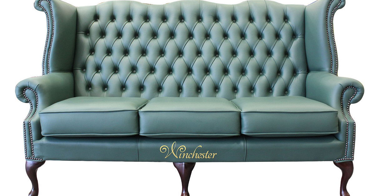 Chesterfield 3 Seater Queen Anne High Back Wing Sofa Jade