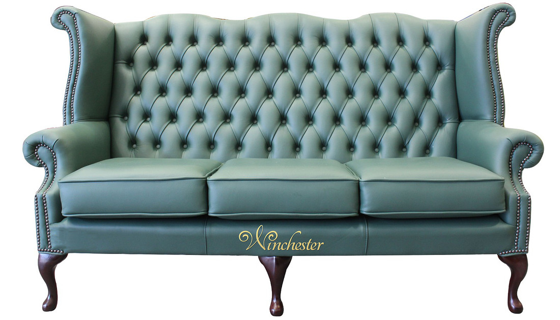 Chesterfield 3 Seater Queen Anne High Back Wing Sofa Jade Green ...
