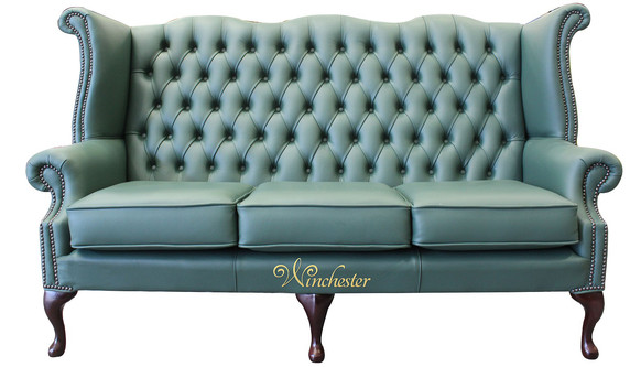 Chesterfield 3 Seater Queen Anne High Back Wing Sofa Jade Green Leather UK Manufactured