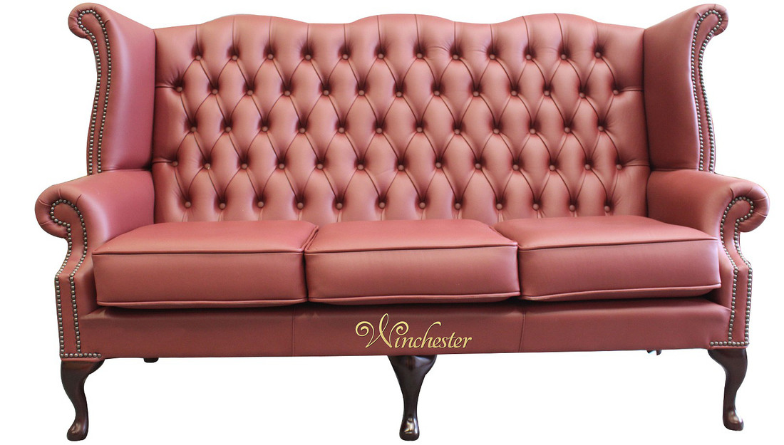 High Back Wing Sofa Burgandy Leather Uk Manufactured Chesterfield 3 Seater Queen Anne Anemone Wc
