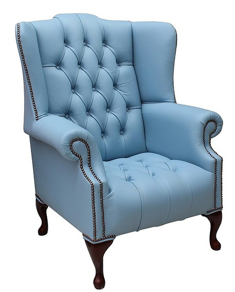 Chesterfield Buttoned Queen Anne High Back Wing Chair Shelly Haze