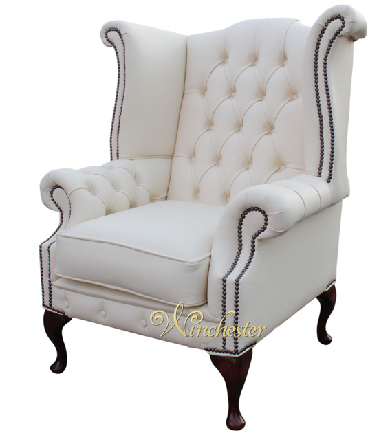 Alto Modern High Back Leather Sofa Collection In White: Chesterfield Chatsworth Queen Anne High Back Wing Chair UK