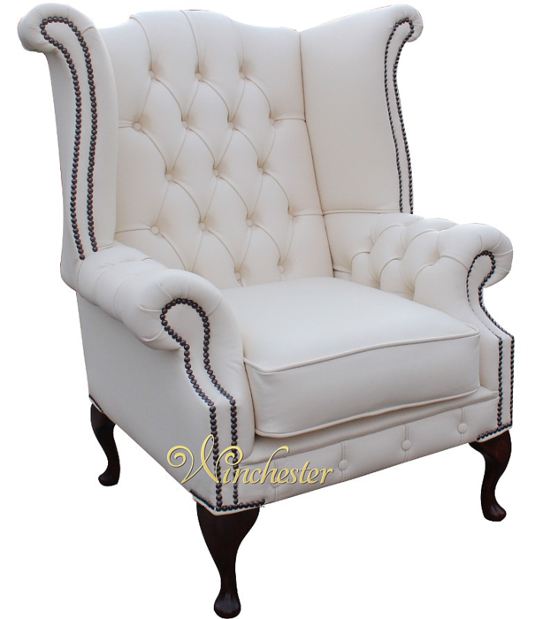 High Back White Leather Sofa: Chesterfield Chatsworth Queen Anne High Back Wing Chair UK
