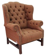 Chesterfield Churchill High Back Wing Chair Harris Tweed Huntsman Check Burnt Orange