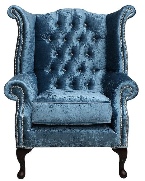 Chesterfield Crystal Queen Anne High Back Wing Chair Shimmer Aqua Velvet