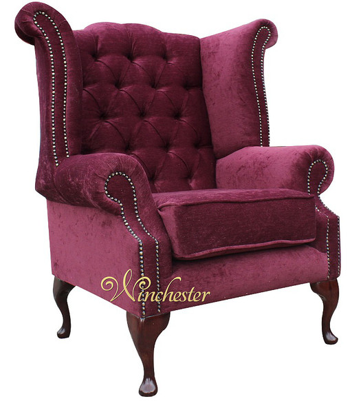 Chesterfield Fabric Queen Anne High Back Wing Chair Damson