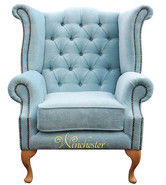 Chesterfield Fabric Queen Anne High Back Wing Chair Duck Egg Blue Yew Feet