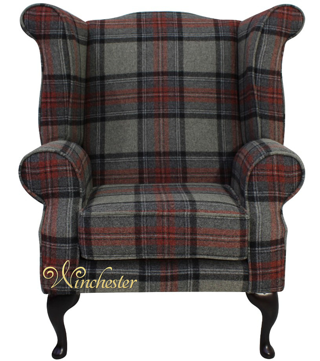 Chesterfield Edward Queen Anne Wing Chair Wool Check Graphite Wc
