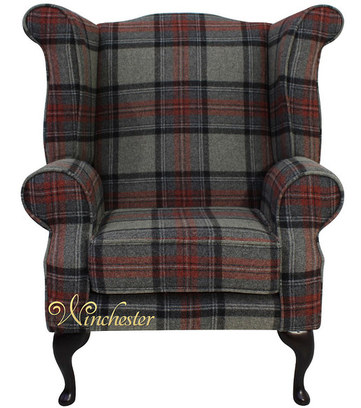 Chesterfield Edward Queen Anne Wool Tweed Wing Chair Fireside High Back Armchair Beningborough Graphite Check Fabric