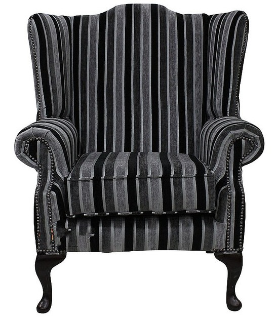 Chesterfield Fabric Mallory Flat Wing High Back Wing Chair