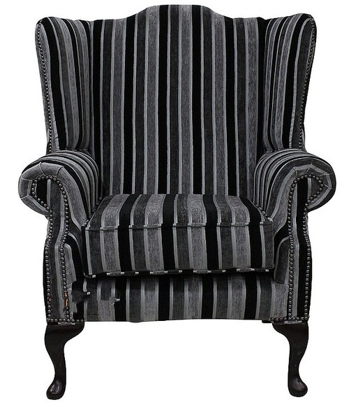 Chesterfield Fabric Mallory Flat Wing High Back Wing Chair Clio Stripe Twilight
