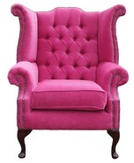 Chesterfield Fabric Queen Anne High Back Wing Chair Fuchsia Pink