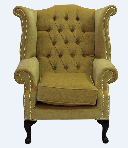 Chesterfield Fabric Queen Anne High Back Wing Chair Pimlico Corn