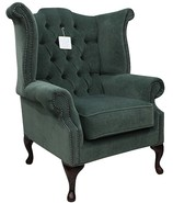 Chesterfield Fabric Queen Anne High Back Wing Chair Pimlico Ocean Green