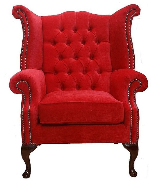 Chesterfield Fabric Queen Anne High Back Wing Chair