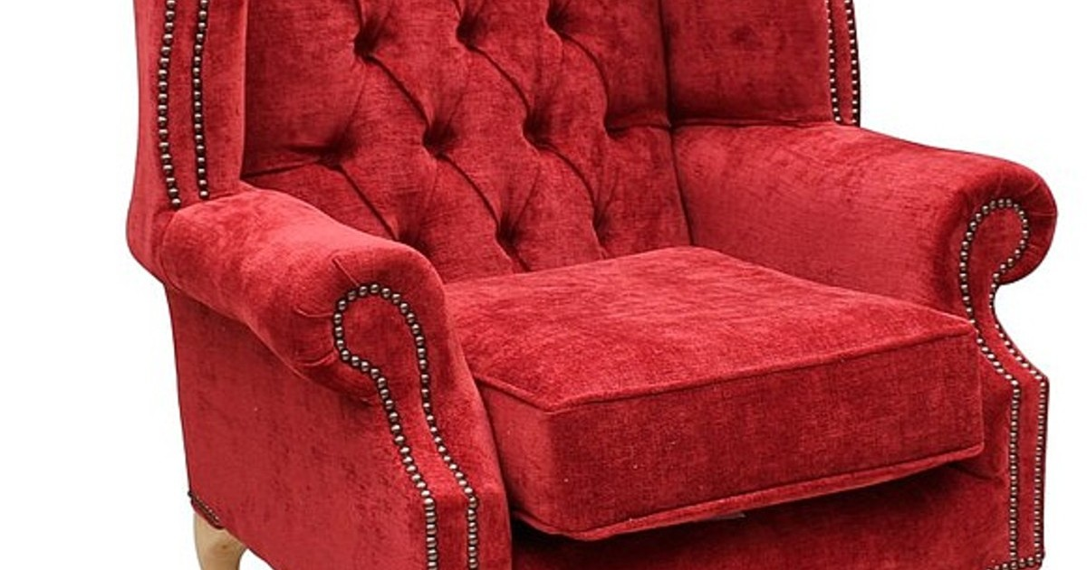 Red Chesterfield Queen Anne Wing Chair Designersofas4u