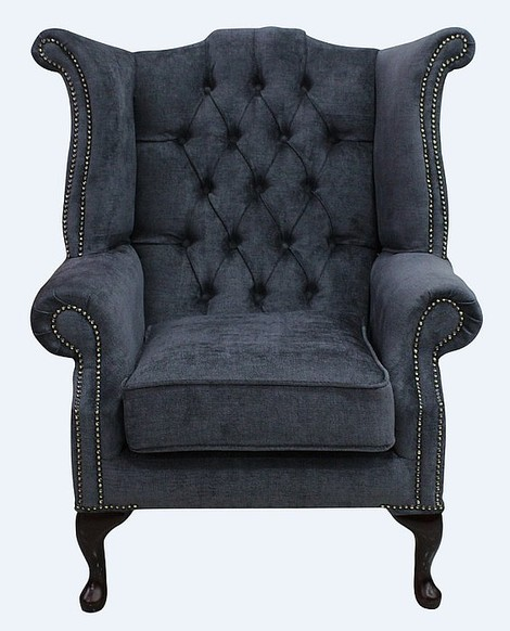 Chesterfield Fabric Queen Anne High Back Wing Chair Velluto Grey