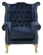 Chesterfield Fabric Queen Anne High Back Wing Chair Velluto Oxford