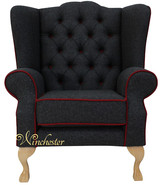 Chesterfield Frederick Wing Chair Fireside High Back Armchair Skye Red Check Fabric