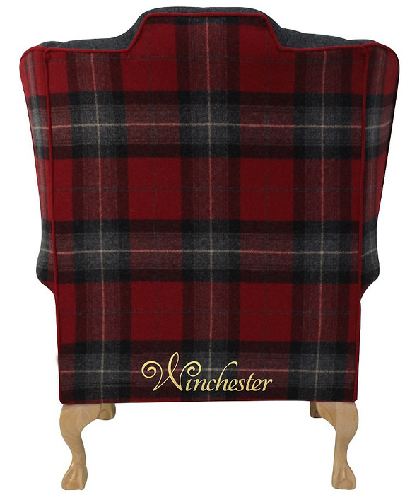 Chesterfield Frederick Wing Chair Fireside High Back Armchair Skye Red Check