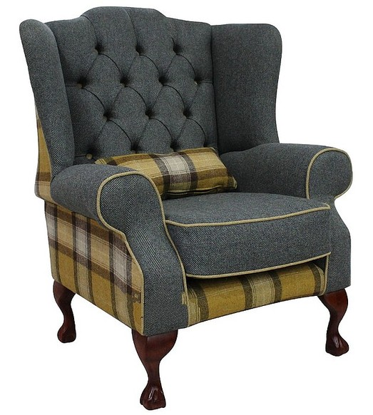 Chesterfield Frederick Wool Wing Chair Fireside High Back Armchair Skye Gold/Grey Check Tweed