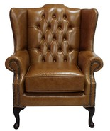 Chesterfield Gladstone Queen Anne High Back Wing Chair Old English Saddle Leather