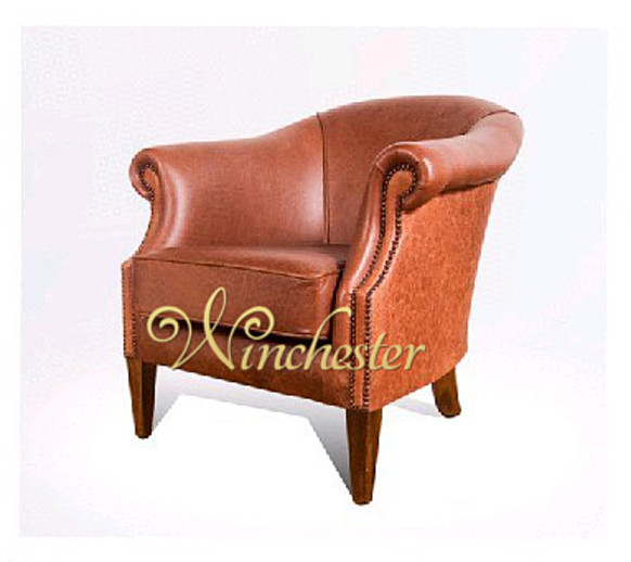 Chesterfield Halliwell Leather Chesterfield Tub Chair UK Manufactured Old English Bruciato