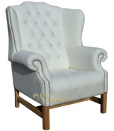 Chesterfield CRYSTALLIZED™ - Swarovski Elements Hamilton High Back Wing Chair White Leather